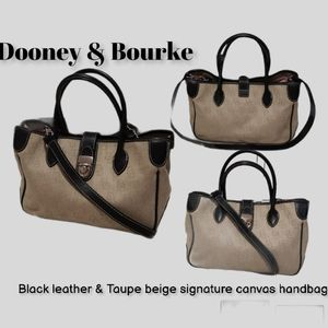 Dooney & Bourke Black leather cream DB satchel bag